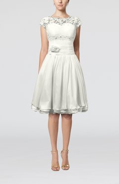 Ivory Cinderella A-line Scalloped Edge Short Sleeve Chiffon Knee Length Bridesmaid Dresses