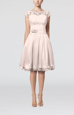 Light Pink Cinderella A-line Scalloped Edge Short Sleeve Chiffon Knee Length Bridesmaid Dresses