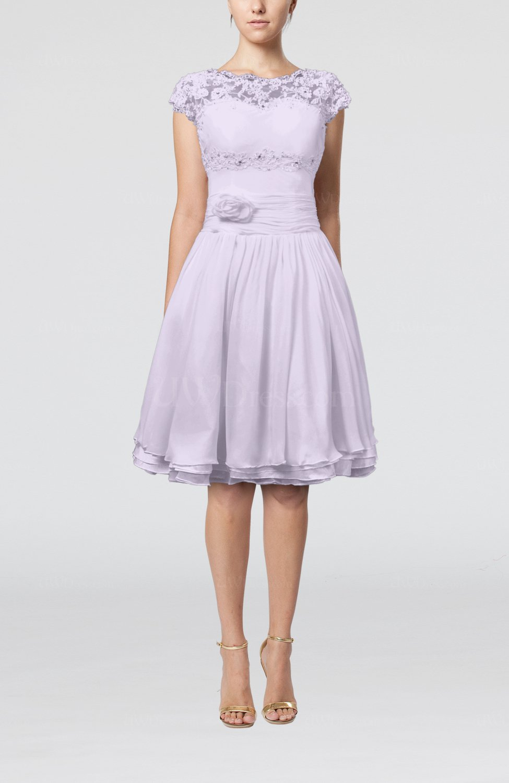 Light Purple Cinderella A Line Scalloped Edge Short Sleeve