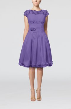 Lilac Cinderella A-line Scalloped Edge Short Sleeve Chiffon Knee Length Bridesmaid Dresses