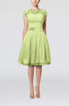Lime Green Cinderella A Line Scalloped Edge Short Sleeve Chiffon Knee Length Bridesmaid Dresses