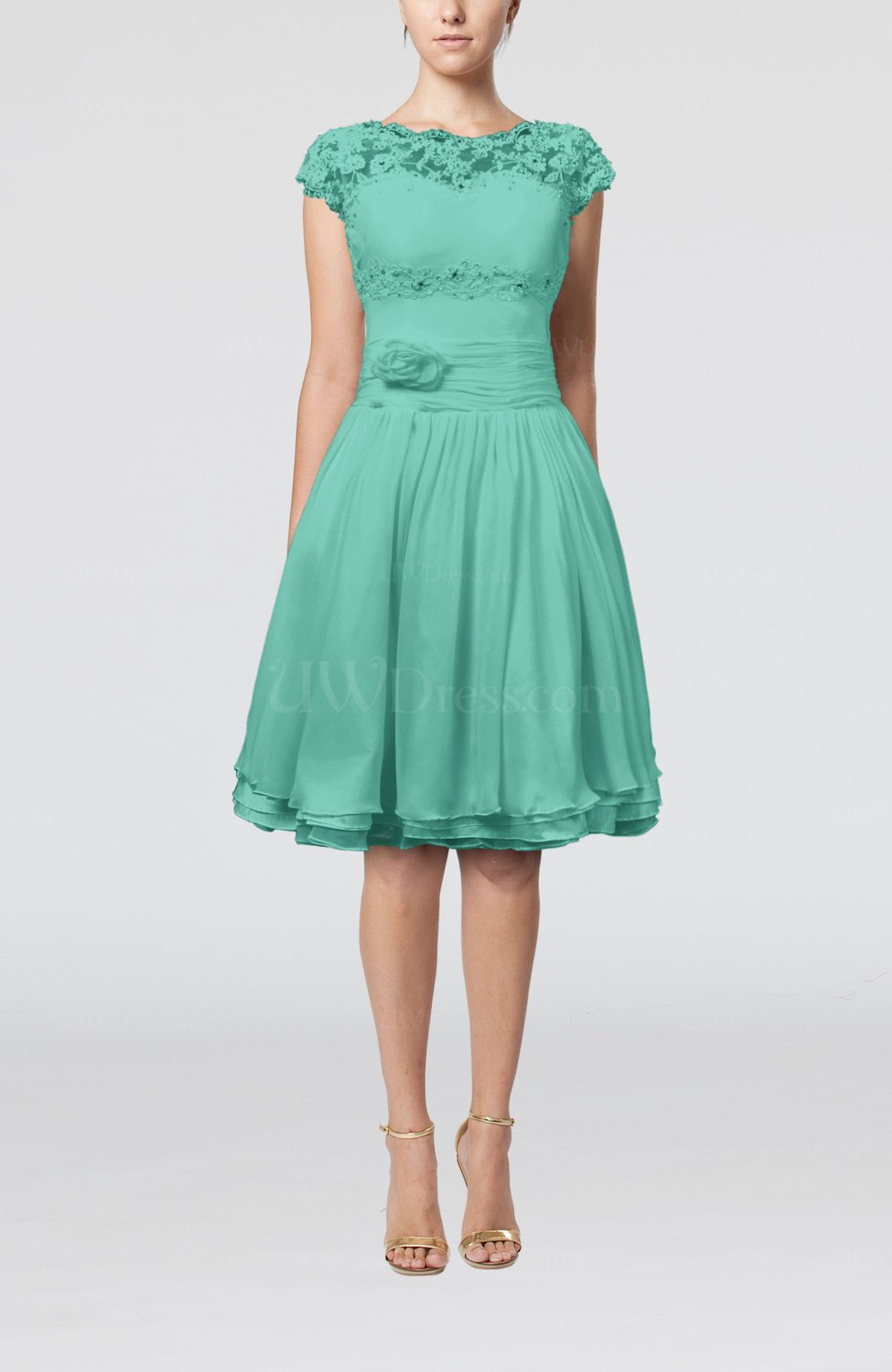 Mint Green Cinderella A-line Scalloped Edge Short Sleeve Chiffon ...