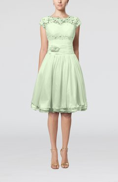 Pale Green Cinderella A-line Scalloped Edge Short Sleeve Chiffon Knee Length Bridesmaid Dresses
