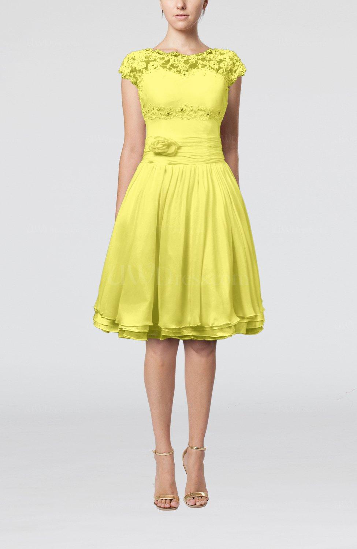Pale Yellow Cinderella A-line Scalloped Edge Short Sleeve Chiffon ...