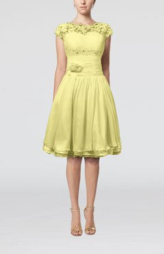Pastel Yellow Cinderella A Line Scalloped Edge Short Sleeve Chiffon Knee Length Bridesmaid Dresses