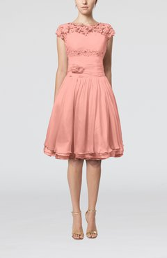 Peach Cinderella A-line Scalloped Edge Short Sleeve Chiffon Knee Length Bridesmaid Dresses