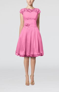 Pink Cinderella A-line Scalloped Edge Short Sleeve Chiffon Knee Length Bridesmaid Dresses