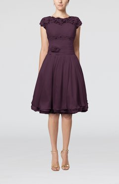 Plum Cinderella A-line Scalloped Edge Short Sleeve Chiffon Knee Length Bridesmaid Dresses