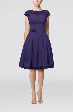 Royal Purple Cinderella A-line Scalloped Edge Short Sleeve Chiffon Knee Length Bridesmaid Dresses