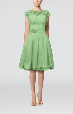 Sage Green Cinderella A-line Scalloped Edge Short Sleeve Chiffon Knee Length Bridesmaid Dresses