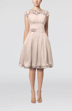 Silver Peony Cinderella A Line Scalloped Edge Short Sleeve Chiffon Knee Length Bridesmaid Dresses
