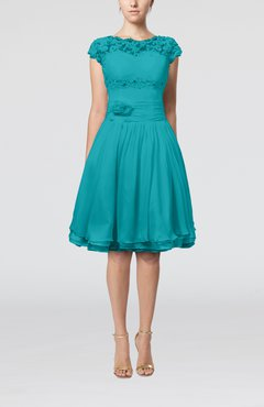 Teal Cinderella A-line Scalloped Edge Short Sleeve Chiffon Knee Length Bridesmaid Dresses