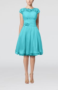 Turquoise Cinderella A-line Scalloped Edge Short Sleeve Chiffon Knee Length Bridesmaid Dresses