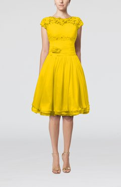 Yellow Cinderella A-line Scalloped Edge Short Sleeve Chiffon Knee Length Bridesmaid Dresses