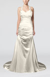 Modern Church A-line Backless Elastic Woven Satin Ruching Bridal Gowns