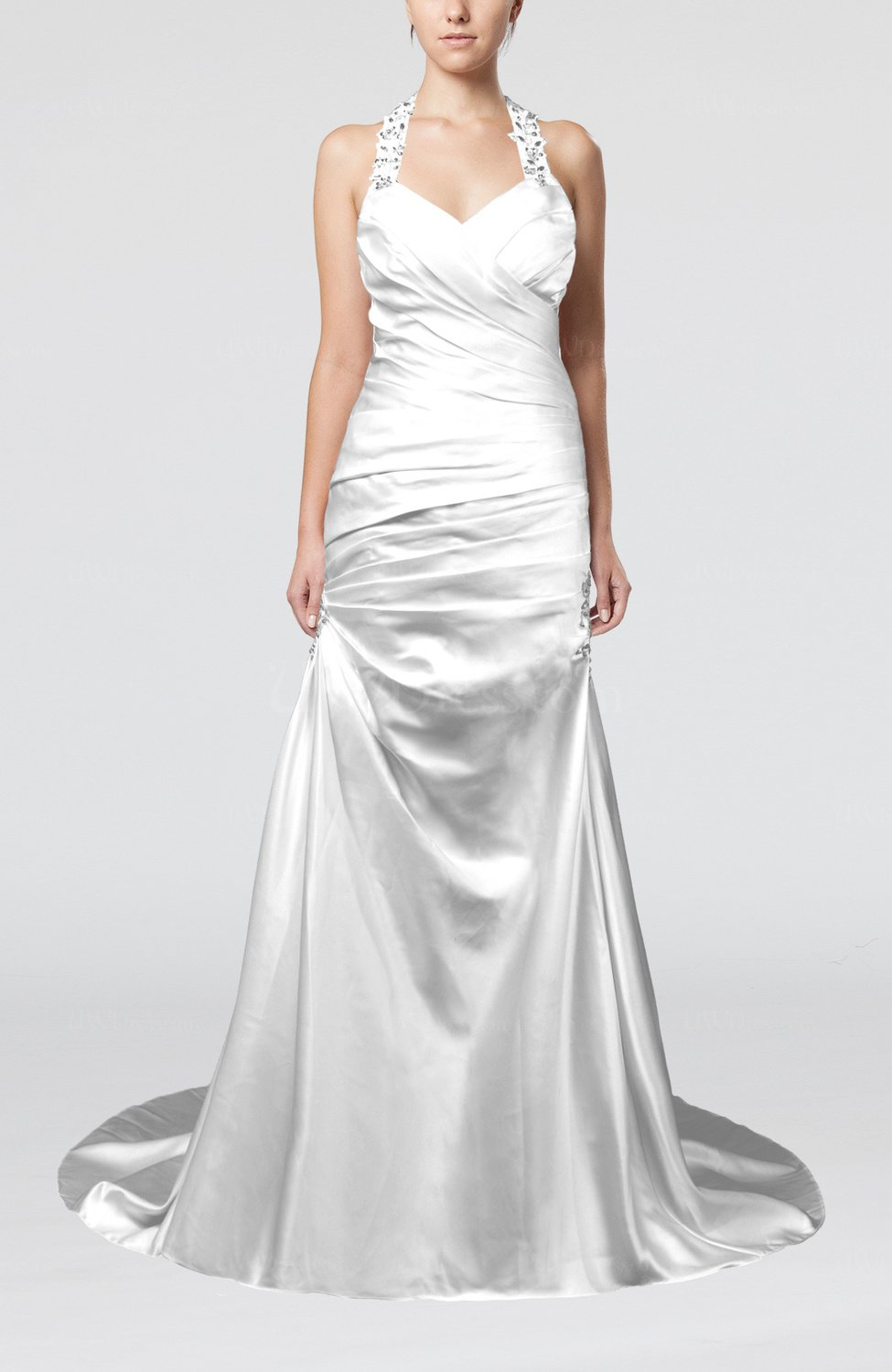 White modern church a line backless elastic woven satin for A line wedding dress with ruching