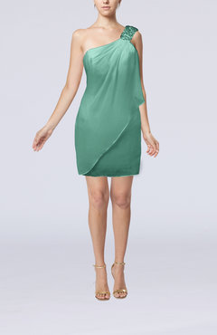 Mint Green Modest Sheath Zip up Chiffon Short Ruching Club Dresses