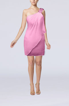 Pink Modest Sheath Zip up Chiffon Short Ruching Club Dresses