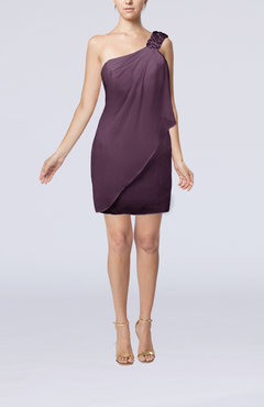 Plum Modest Sheath Zip up Chiffon Short Ruching Club Dresses