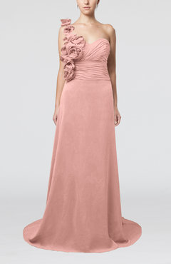 Peach Elegant A-line Asymmetric Neckline Zip up Flower Bridesmaid Dresses