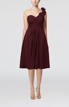 Burgundy Romantic A-line Sleeveless Zipper Chiffon Tea Length Bridesmaid Dresses