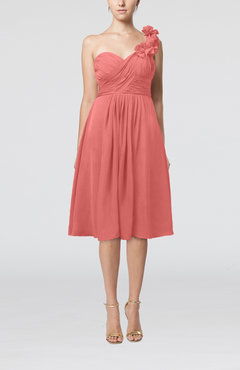 Coral Romantic A-line Sleeveless Zipper Chiffon Tea Length Bridesmaid Dresses