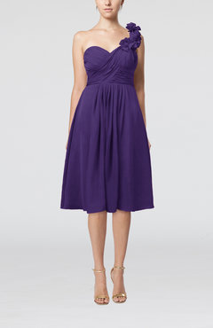 Dark Purple Romantic A-line Sleeveless Zipper Chiffon Tea Length Bridesmaid Dresses