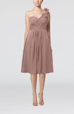 Dusty Rose Romantic A-line Sleeveless Zipper Chiffon Tea Length Bridesmaid Dresses