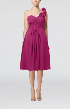 Hot Pink Romantic A-line Sleeveless Zipper Chiffon Tea Length Bridesmaid Dresses