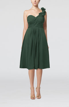 Hunter Green Romantic A-line Sleeveless Zipper Chiffon Tea Length Bridesmaid Dresses