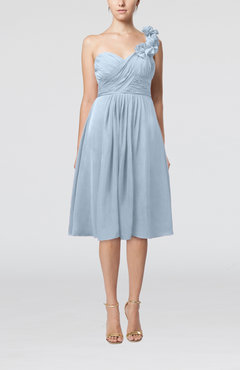 Ice Blue Romantic A-line Sleeveless Zipper Chiffon Tea Length Bridesmaid Dresses