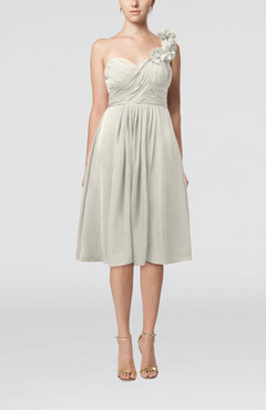 Ivory Romantic A-line Sleeveless Zipper Chiffon Tea Length Bridesmaid Dresses