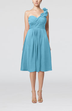 Light Blue Romantic A-line Sleeveless Zipper Chiffon Tea Length Bridesmaid Dresses