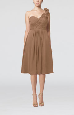 Light Brown Romantic A-line Sleeveless Zipper Chiffon Tea Length Bridesmaid Dresses
