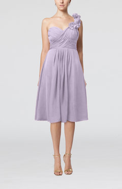 Light Purple Romantic A-line Sleeveless Zipper Chiffon Tea Length Bridesmaid Dresses