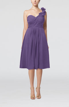 Lilac Romantic A-line Sleeveless Zipper Chiffon Tea Length Bridesmaid Dresses