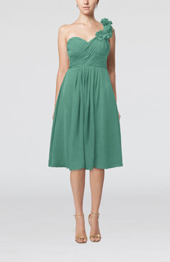 Mint Green Romantic A-line Sleeveless Zipper Chiffon Tea Length Bridesmaid Dresses