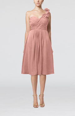 Peach Romantic A-line Sleeveless Zipper Chiffon Tea Length Bridesmaid Dresses
