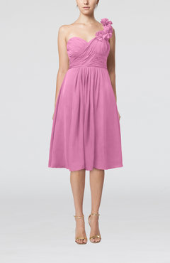 Pink Romantic A-line Sleeveless Zipper Chiffon Tea Length Bridesmaid Dresses