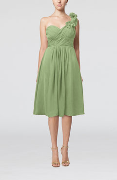 Sage Green Romantic A-line Sleeveless Zipper Chiffon Tea Length Bridesmaid Dresses