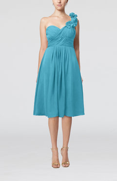 Turquoise Romantic A-line Sleeveless Zipper Chiffon Tea Length Bridesmaid Dresses