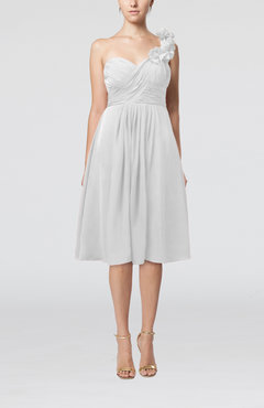 White Romantic A-line Sleeveless Zipper Chiffon Tea Length Bridesmaid Dresses