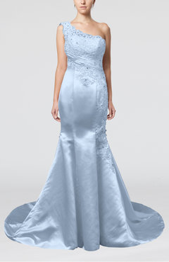 Ice Blue Gorgeous Outdoor Fit-n-Flare Asymmetric Neckline Sleeveless Zipper Appliques Bridal Gowns