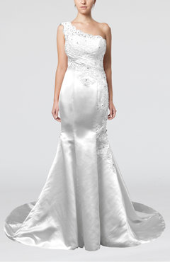 White Gorgeous Outdoor Fit-n-Flare Asymmetric Neckline Sleeveless Zipper Appliques Bridal Gowns