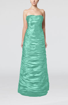 Mint Green Elegant Strapless Sleeveless Zipper Taffeta Ruching Prom Dresses