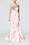 Elegant Outdoor Mermaid Strapless Sleeveless Lace up Bow Bridal Gowns