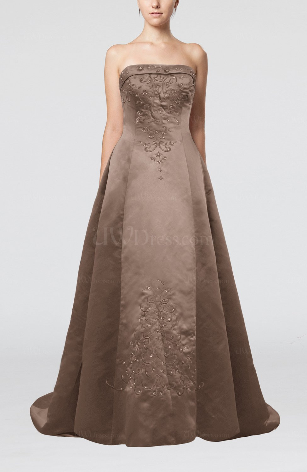 Bronze Brown Modern Church Strapless Backless Court Train