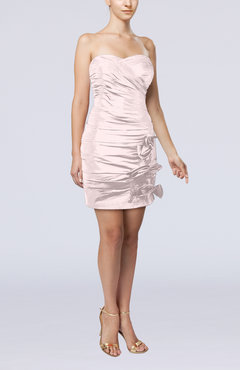 Blush Modern Column Sweetheart Taffeta Appliques Party Dresses