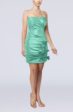 Mint Green Modern Column Sweetheart Taffeta Appliques Party Dresses