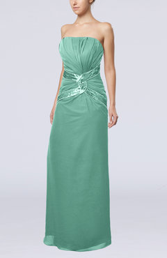 Mint Green Gorgeous Strapless Zipper Chiffon Floor Length Beaded Prom Dresses